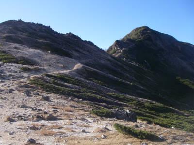 根石岳の登り
