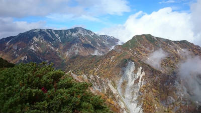 右が北葛岳、左が蓮華岳