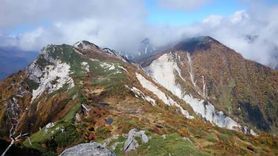南沢岳、不動岳を望む。