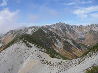 水晶岳への縦走路