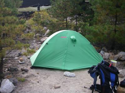 松の木陰にテントを設営する。