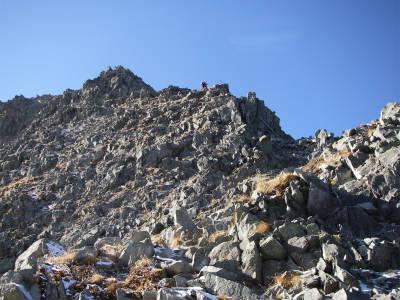 最低コルを過ぎてからの登りが北穂~涸沢岳間で一番高度感がある場所だ。