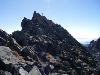 涸沢岳山頂が見えてきた。