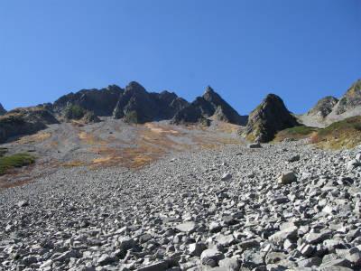 開けたパノラマコースより涸沢岳方面を望む。