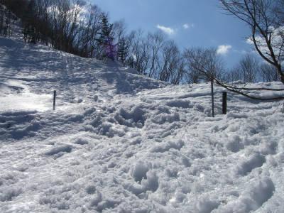 雪に埋もれたテントサイト