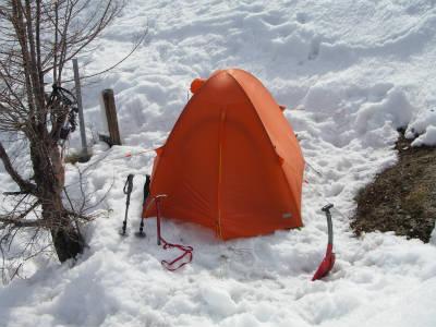 テント設営した。