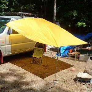 車中泊でのタープ取付け方法を検討