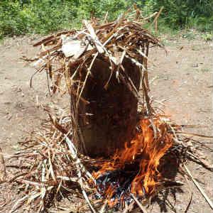 間伐材の皮剥と薪割り台の設置